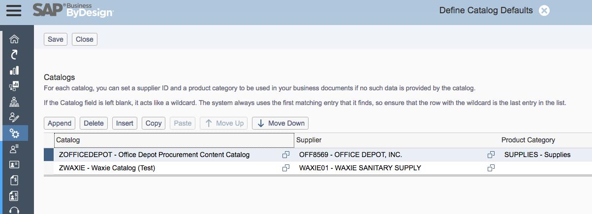 Business ByDesign Catalog Defaults